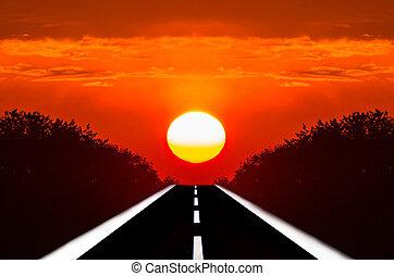 estradas, pôr do sol