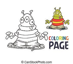 estrangeiro, coloração, caricatura, página