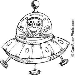 estrangeiro, doodle, esboço, vetorial, ufo