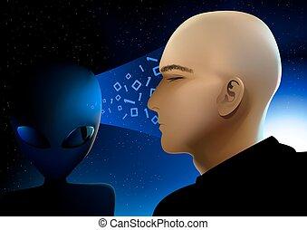 estrangeiro, informação, compartilhar, visitante, espaço