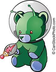 estrangeiro, personagem, caricatura, urso, pelúcia