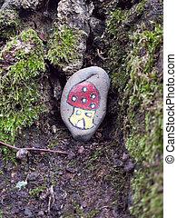 estranho, pintado, cogumelo, pedra, ligado, chão, crianças, divertimento, criança