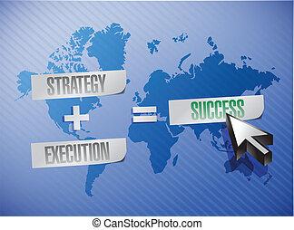 estratégia, execução, sucesso, ilustração