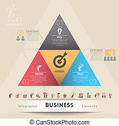 estratégia negócio, conceito, gráfico, elemento