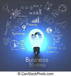 estratégia negócio, e, bulbo leve, com, engrenagens, como,...