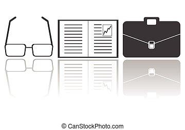 estratégia, negócio, e, finanças, ícones conceito
