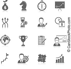 estratégia negócio, planificação, ícones
