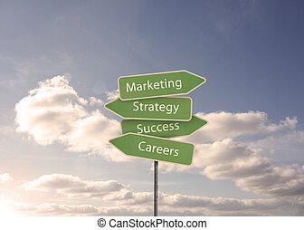 estratégia, sinal estrada, marketing