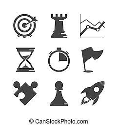estrategia, conjunto, iconos