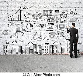 estrategia de la corporación mercantil, en, pared