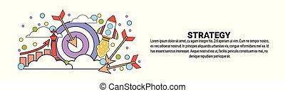estrategia, empresa / negocio, planificación, concepto, horizontal, tela, bandera, con, espacio de copia