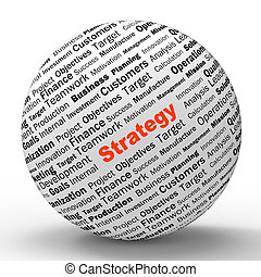 estrategia, esfera, definición, actuación, exitoso,...