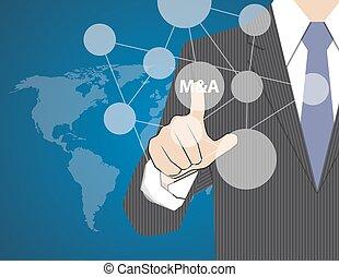 estrategia, hombre de negocios, conmovedor, pantalla del tacto, vector, adquisición, concepto