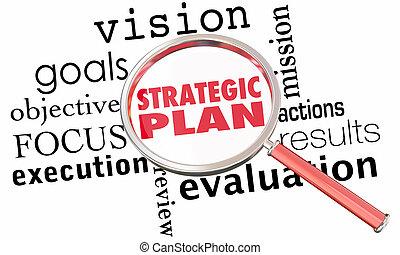 estrategia, lupa, estratégico, plan, ilustración, metas, 3d