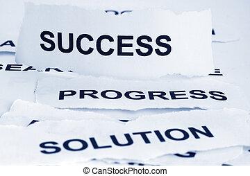 estrategia, progreso, solución