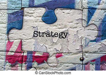 estrategia, rompecabezas, concepto