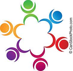 estrategias, trabajo en equipo, logotipo