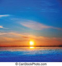 Estratto, fondo, mare, alba