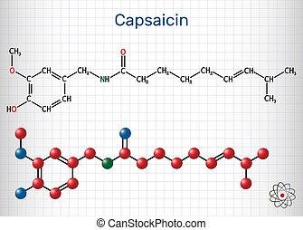 estratto, gabbia, molecule., peperoncino, formula, carta, ...