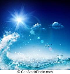 Estratto, Sfondi, ambientale, oceano, disegno, tuo