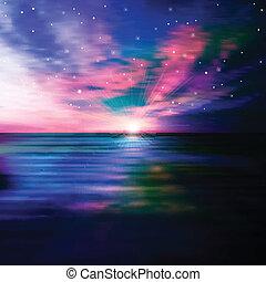 Estratto, tramonto, fondo, mare