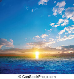 Estratto, tramonto, mare, fondo, natura