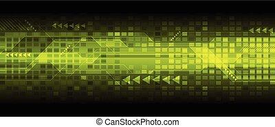 estratto verde, tecnologia, fondo, digitale