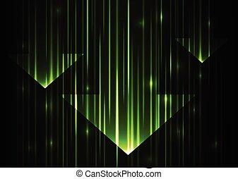 estratto verde, tecnologia, freccia, fondo