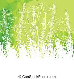 estratto verde, vettore, erba, fondo