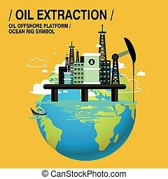 estrazione, olio, sopra, mare