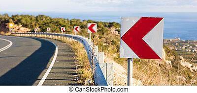 estrecho, advertir, vuelta aguda, señales, camino, izquierda...