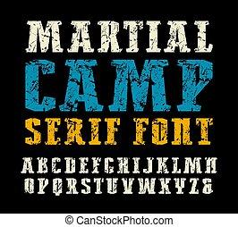 estrecho, militar, estilo, serif, fuente