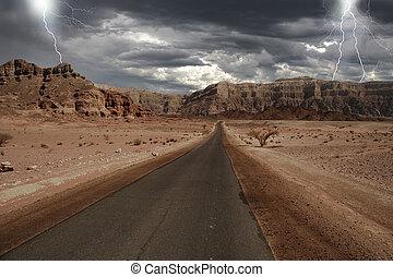 estreito, através, israel., estrada, deserto