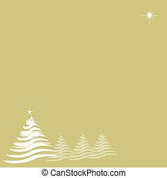 estrela, árvores, ouro, natal