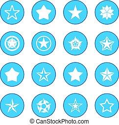 estrela, ícone, azul