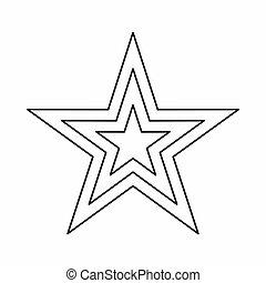 estrela, ícone, esboço, estilo