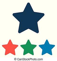 estrela, ícone, jogo, -, simples, apartamento, desenho, isolado, branco, fundo, vetorial