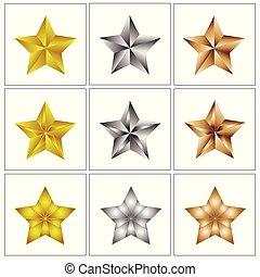 estrela, ícone, logotipo, jogo, distinção