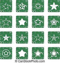 estrela, ícones, jogo, grunge