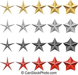 estrela, ícones, vetorial, jogo, isolado, branco, experiência.