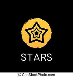 estrela amarela, ícone, ligado, experiência preta