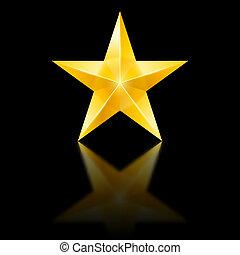estrela amarela, ligado, pretas
