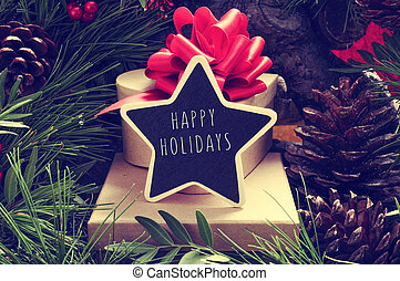 estrela-amoldado, chalkboard, com, a, texto, feliz, feriados