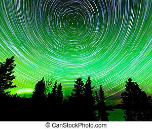 estrela, ao redor, norte, rastros, luzes, polaris