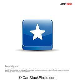 estrela azul, botão, -, ícone, 3d