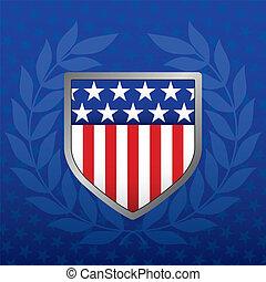estrela azul, escudo, fundo, branco vermelho