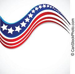 estrela, bandeira eua, desenho, folheto, logotipo