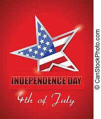 estrela, bandeira, julho, 4, dia, independência