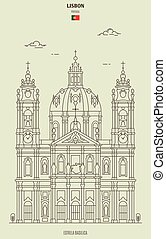 Estrela Basilica in Lisbon, Portugal. Landmark icon in linear style