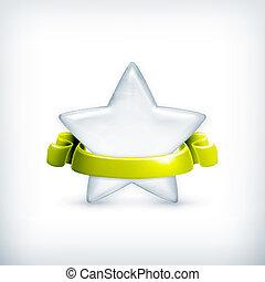 estrela, branca, vetorial, distinção